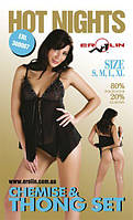 Erolin - Пеньюар и трусики Hot Nights Black, M (ERL300007_black+black M)