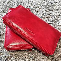 Красивый красный женский кожаный кошелек на молнии Marco Coverna