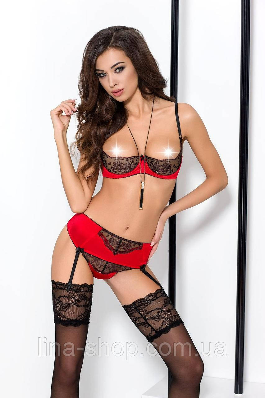 BRIDA SET WITH OPEN BRA red L/XL - Passion