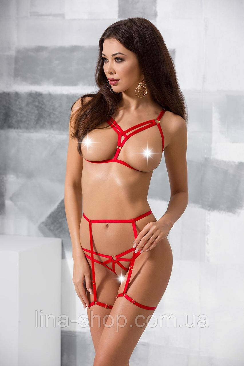 MAGALI SET WITH OPEN BRA red L/XL - Passion