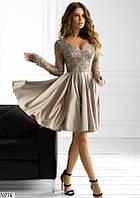 Вечернее платье мини выпускное нежное  мини  с атласной юбкой 42 44 46