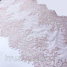 Ажурное французское кружево шантильи (с ресничками) фрезового цвета шириной 40 см, длина купона 3,0 м.