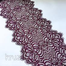 Ажурное кружево шантильи (с ресничками) пурпурно-красного оттенка шириной 30 см, длина купона 1,55 м.
