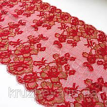 Ажурное французское кружево шантильи (с ресничками) красного цвета шириной 25 см, длина купона 1,4 м.