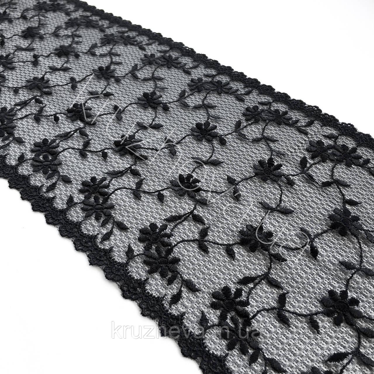 Ажурное кружево вышивка на сетке черного цвета, ширина 19 см