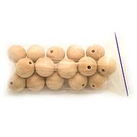 Деревянные бусины 29мм (20шт в упаковке) некрашеные, натуральные из светлого бука