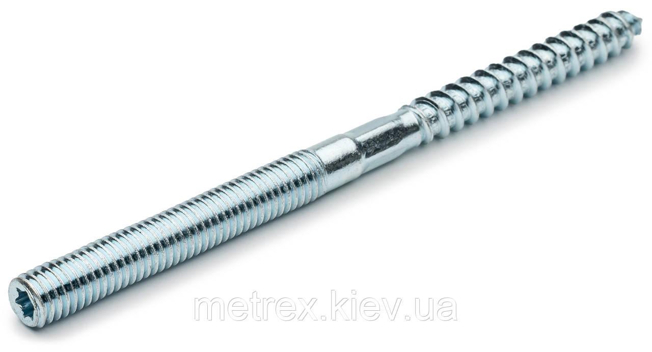 Винт-шуруп комбинированный 10х60 мм (шпилька сантехническая) шлиц Torx, белый цинк