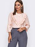 Летняя блузка с оборкой по полочке и рукавом три четверти, фото 3