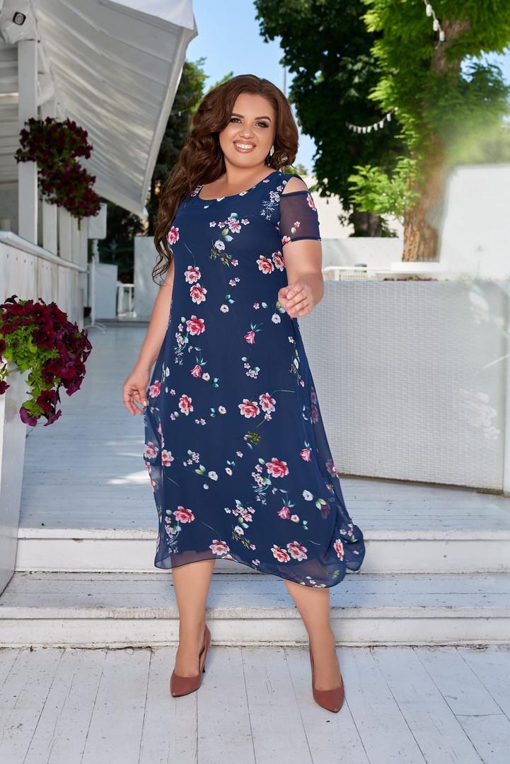 Нарядное платье с красочным цветочным принтом и оголенными плечами размеры 50, 52, 54