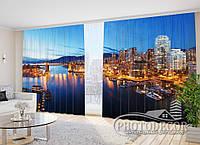 """Фото шторы в зал """"Ночной порт"""" 2,7м*2,9м (2 полотна по 1,45м), тесьма"""