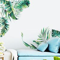 3D интерьерные виниловые наклейки на стены Тропическое пальмовые листья 90-30 см в детскую. Обои