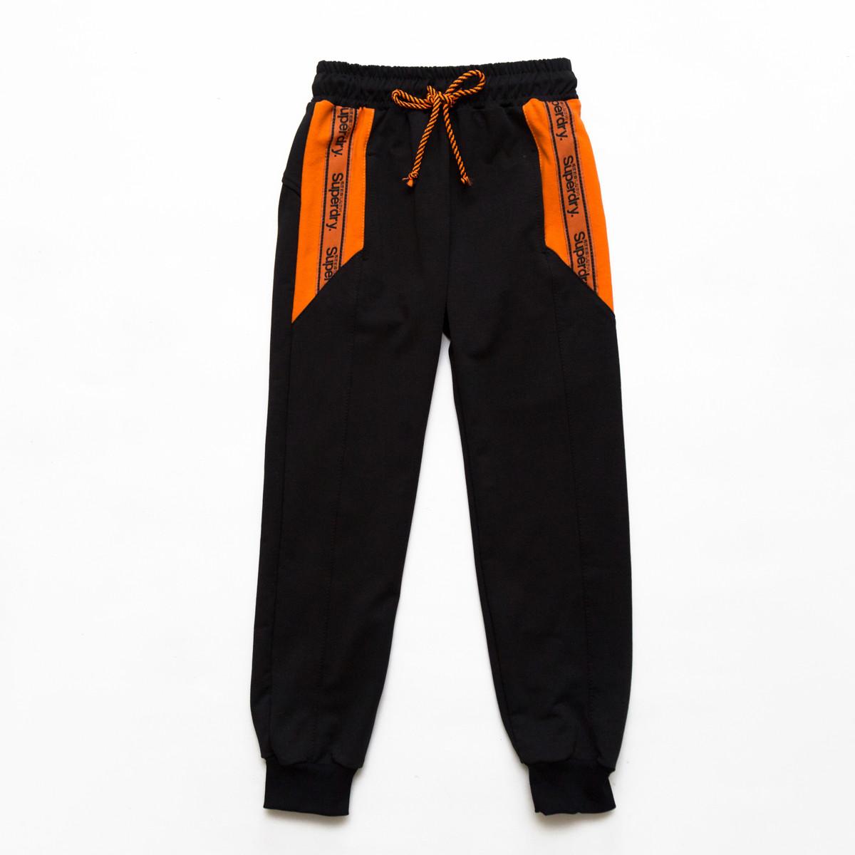 Штаны спортивные для мальчика р.128,134,140,146 SmileTime Super Day, черный с оранжевым