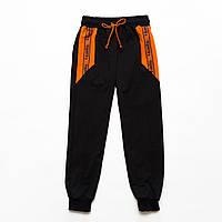 Штаны спортивные для мальчика р.128,134,140,146 SmileTime Super Day, черный с оранжевым, фото 1