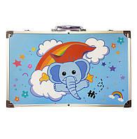Набор для рисования 123 предмета в алюминиевом чемодане детский Mega Art Set | Набор для творчества Голубой
