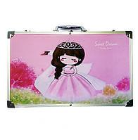 Набор для рисования 123 предмета в алюминиевом чемодане детский Mega Art Set | Набор для творчества Розовый
