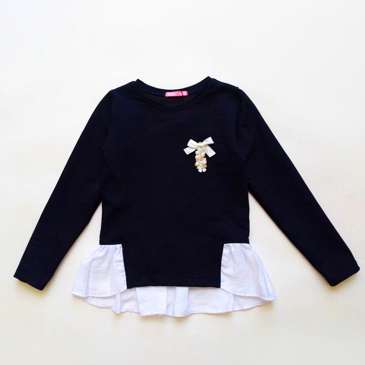 Кофта для девочки SmileTime Schoolgirl, темно-синий с белым