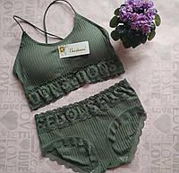 Удобное женское нижнее белье с кружевом, размер S/M, цвет хаки