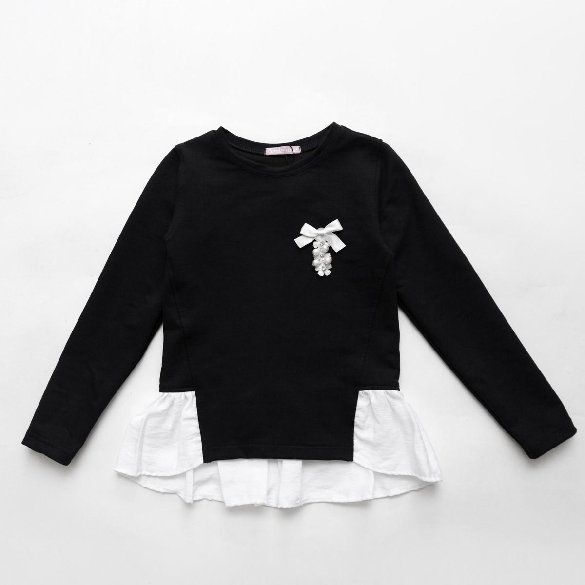 Кофта обманка для девочки SmileTime Schoolgirl, черный с белым
