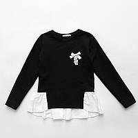Кофта обманка для девочки р.122,128,134,140,146,152 SmileTime Schoolgirl, черный с белым