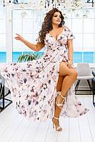 Длинное летнее светлое платье сарафан большого размера на бретелях на запах (S/M, M/L, L/XL, XL/XXL)