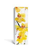 Виниловая наклейка на холодильник Желтые Орхидеи (ламинированная пленка ПВХ) доски цветы Желтый 650*2000 мм