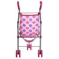 Детская прогулочная коляска для куклы и пупса прогулочная, розовая, трость, игрушки для девочки