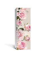 Виниловая наклейка на холодильник Бутоны Розовые Розы (ламинированная пленка ПВХ) цветы 650*2000 мм