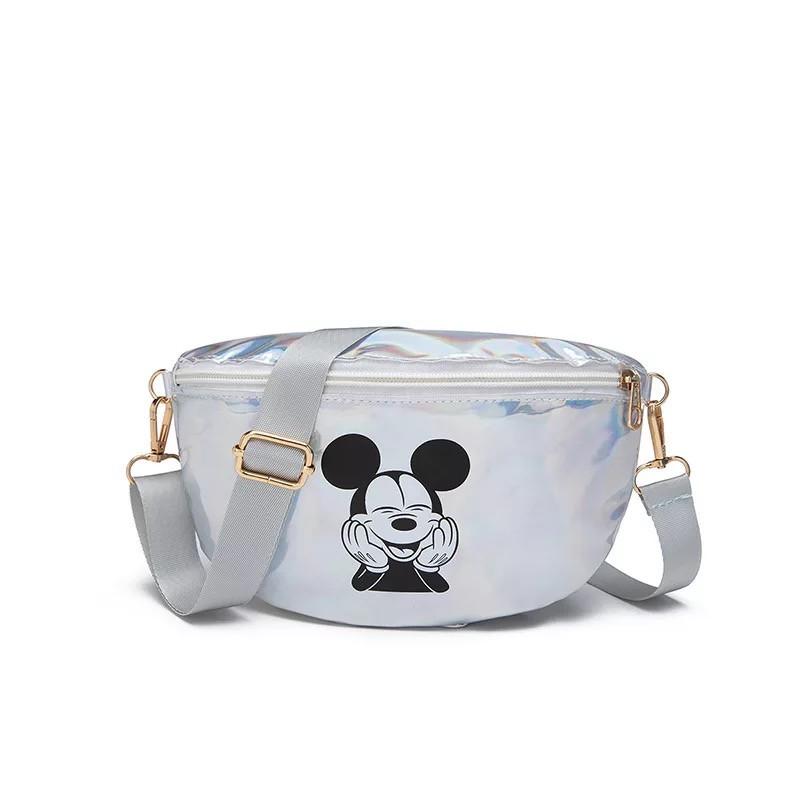 """Детская голографическая блестящая сумочка бананка """"Микки Маус """" серая белая серебряная серебристая"""