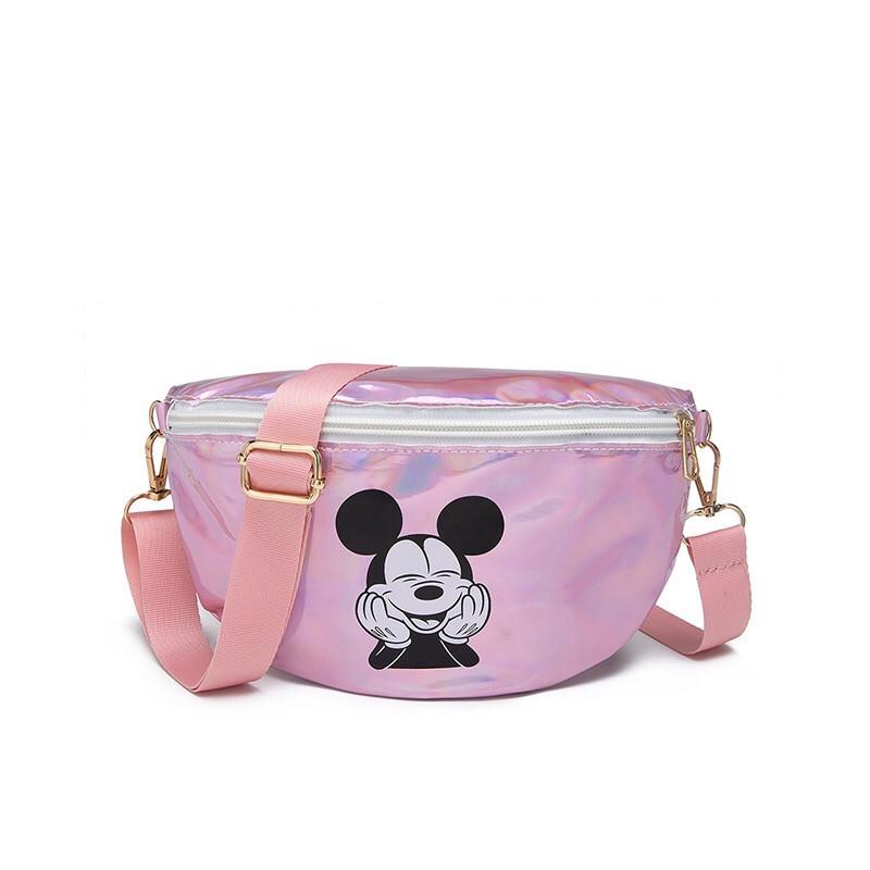 """Детская голографическая блестящая сумочка бананка через плечо """"Микки Маус """" розовая"""