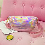 """Детская голографическая блестящая сумочка бананка через плечо """"Микки Маус """" розовая, фото 4"""