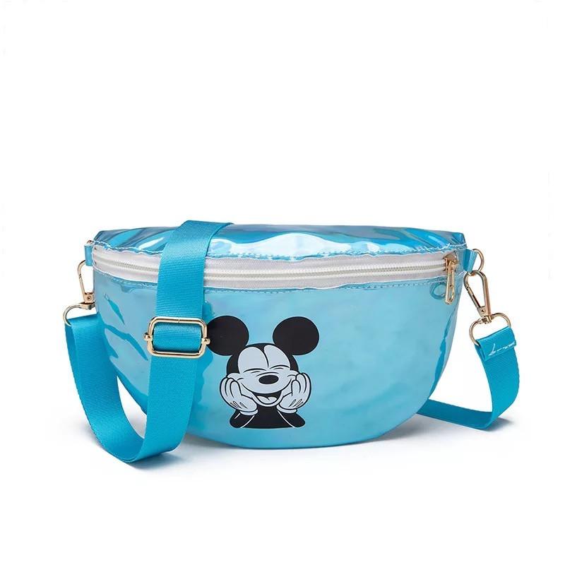 """Детская голографическая блестящая сумочка бананка через плечо  """"Микки Маус """" голубая"""
