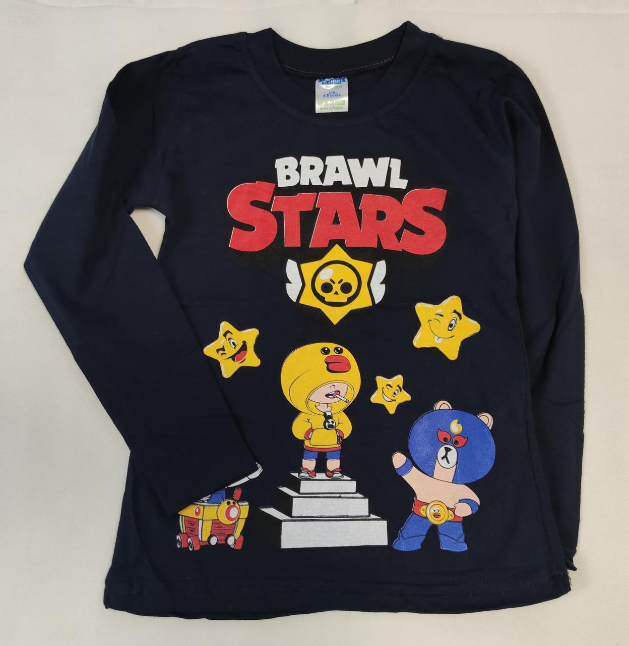 Детская кофта реглан для мальчика Бравл Старс brawl stars черная 5-6 лет