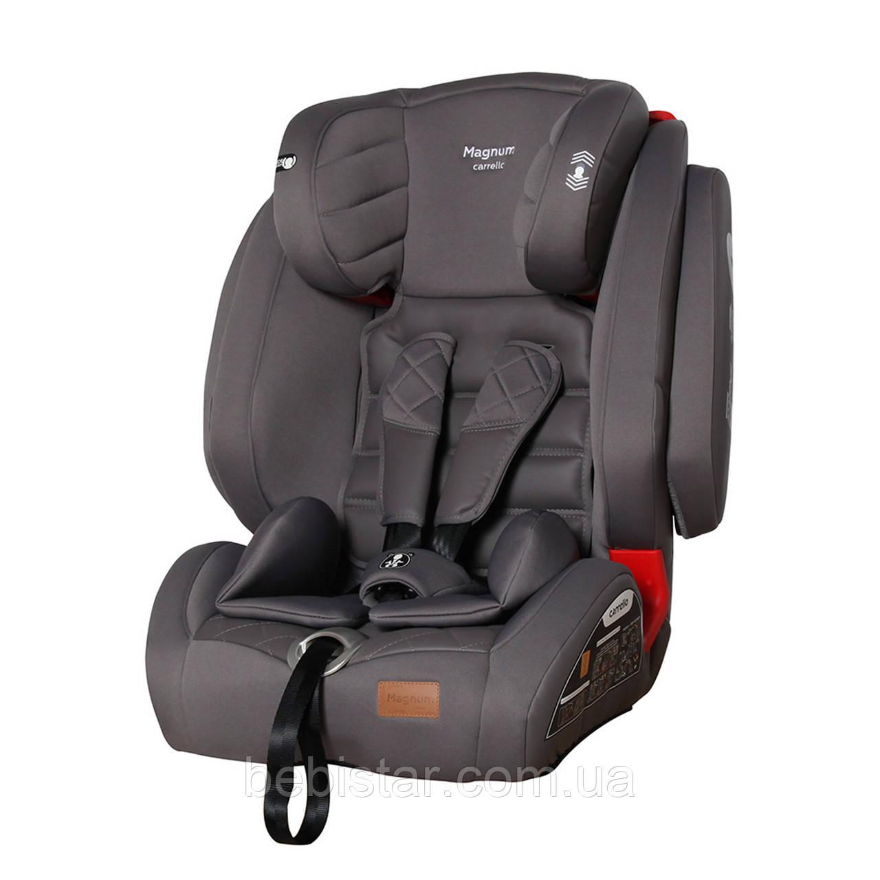 Детское автокресло серое с системой Isofix CARRELLO Magnum CRL-9802 Black Panther детям от 1 до 12 лет