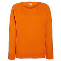 Оранжевый женский приталенный свитшот (Толстовка-реглан)