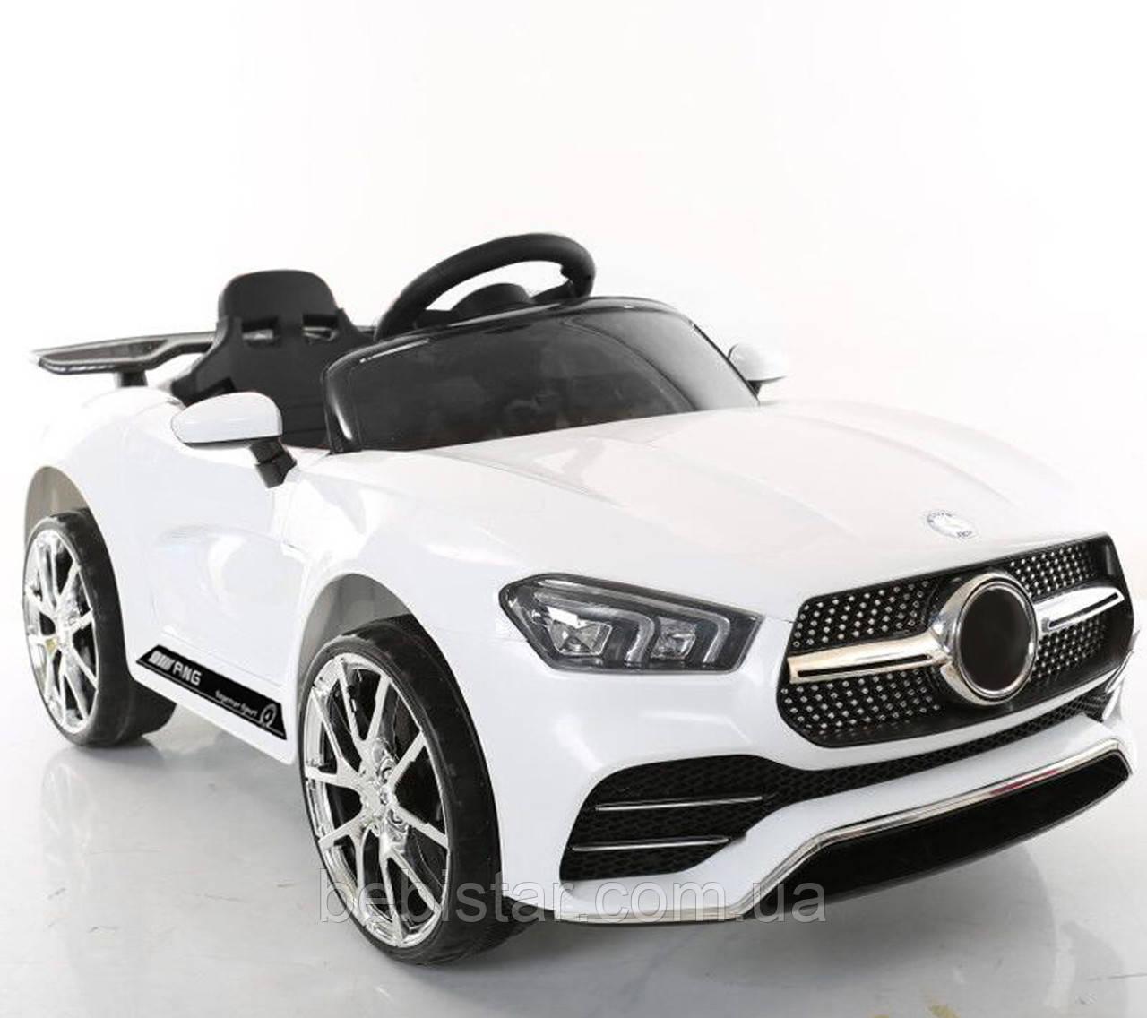 Электромобиль детский спорткар белый колеса EVA детям 3-8 лет с пультом два мотора