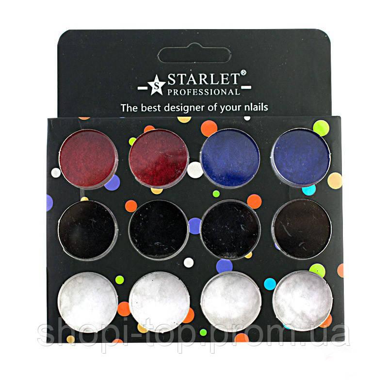 Бархатная пудра для дизайна ногтей starlet professional, 12 цветов