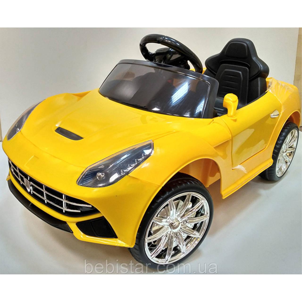 Электромобиль спортивный легковой желтый FL1078 на EVA колесах пульт два мотора для детей 3-8 лет
