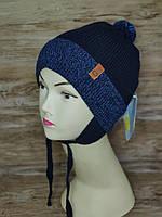 Демисезонная шапка для мальчика с заворотом на хлопковый подложке Размер 48-50 см Возраст 2-4 года, фото 3