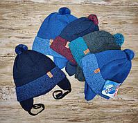 Демисезонная шапка для мальчика с заворотом на хлопковый подложке Размер 48-50 см Возраст 2-4 года, фото 2