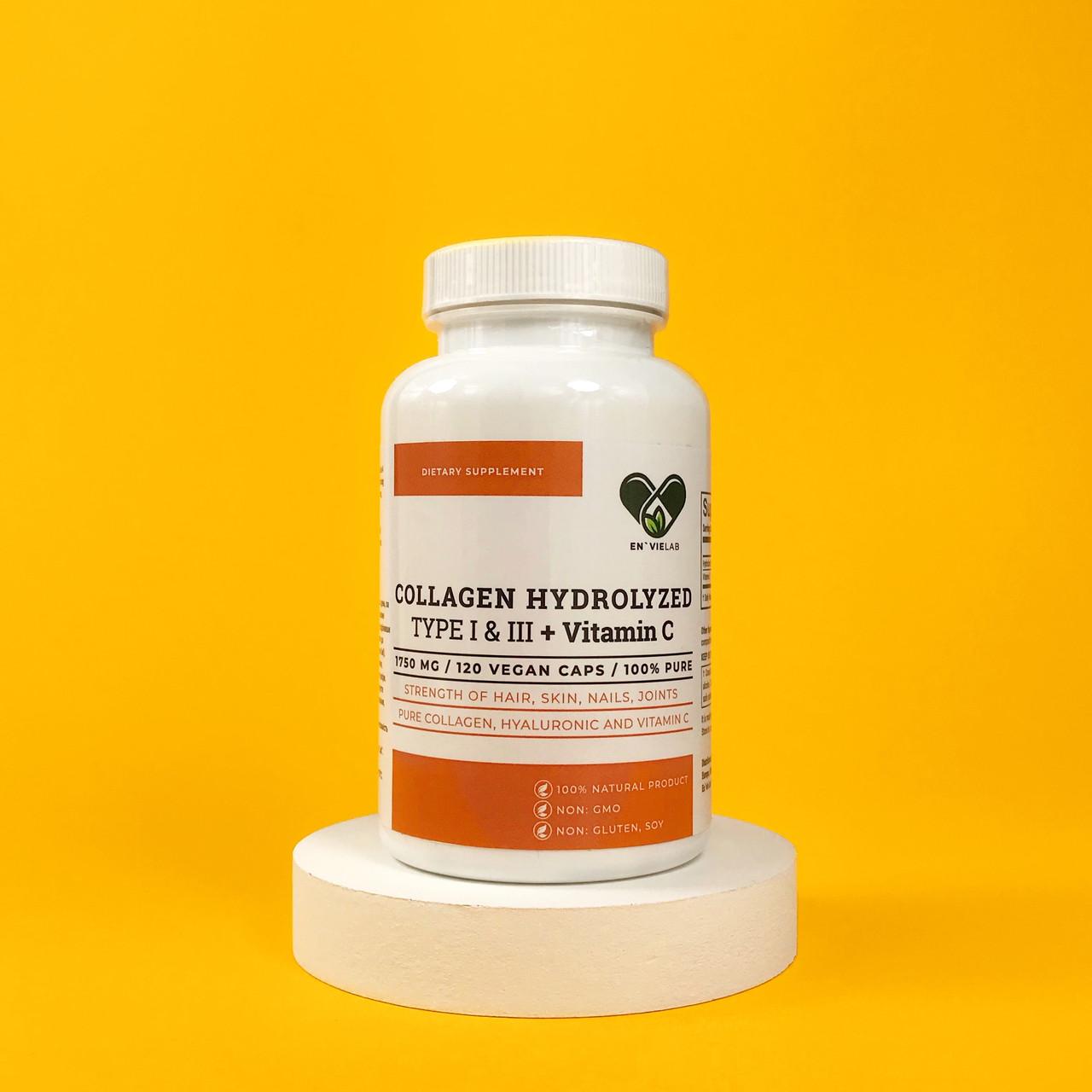 """Колаген з Вітаміном с 1 і 3 типу """"1500 mg"""" для суглобів і зв'язок (нігтів, волосся, шкіри) Envie Lab (120 капсул)"""