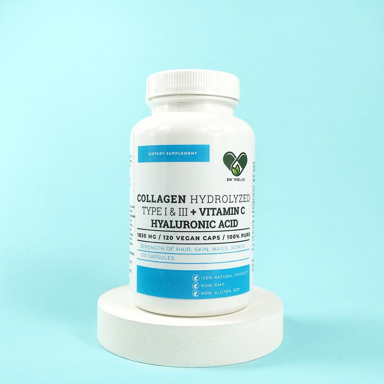 Гіалуронова кислота і колаген, En'vie Lab 1500 mg. (120 капсул) + Вітамін С