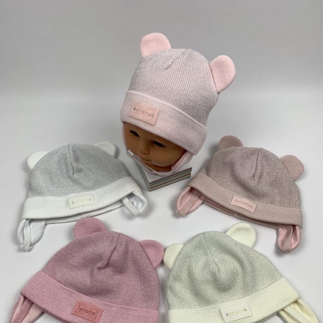 Шапочка для девочек демисезонная с ушками на завязках Размер 40-42 см Возраст 1-3 месяцев