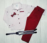 ✅Костюм нарядный для мальчика штаны и рубашка бордо 80 86 92 98, фото 1