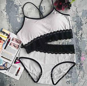 Женское хлопковое нижнее белье с кружевом, универсальный размер S/M ,серый цвет