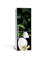 Виниловая наклейка на холодильник Белые Каллы (самоклеющаяся пленка ПВХ) цветы пальмы Зеленый 650*2000 мм
