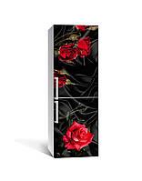 Виниловая наклейка на холодильник Роза Tassin 02 (самоклеющаяся пленка ПВХ) черный шелк 650*2000 мм