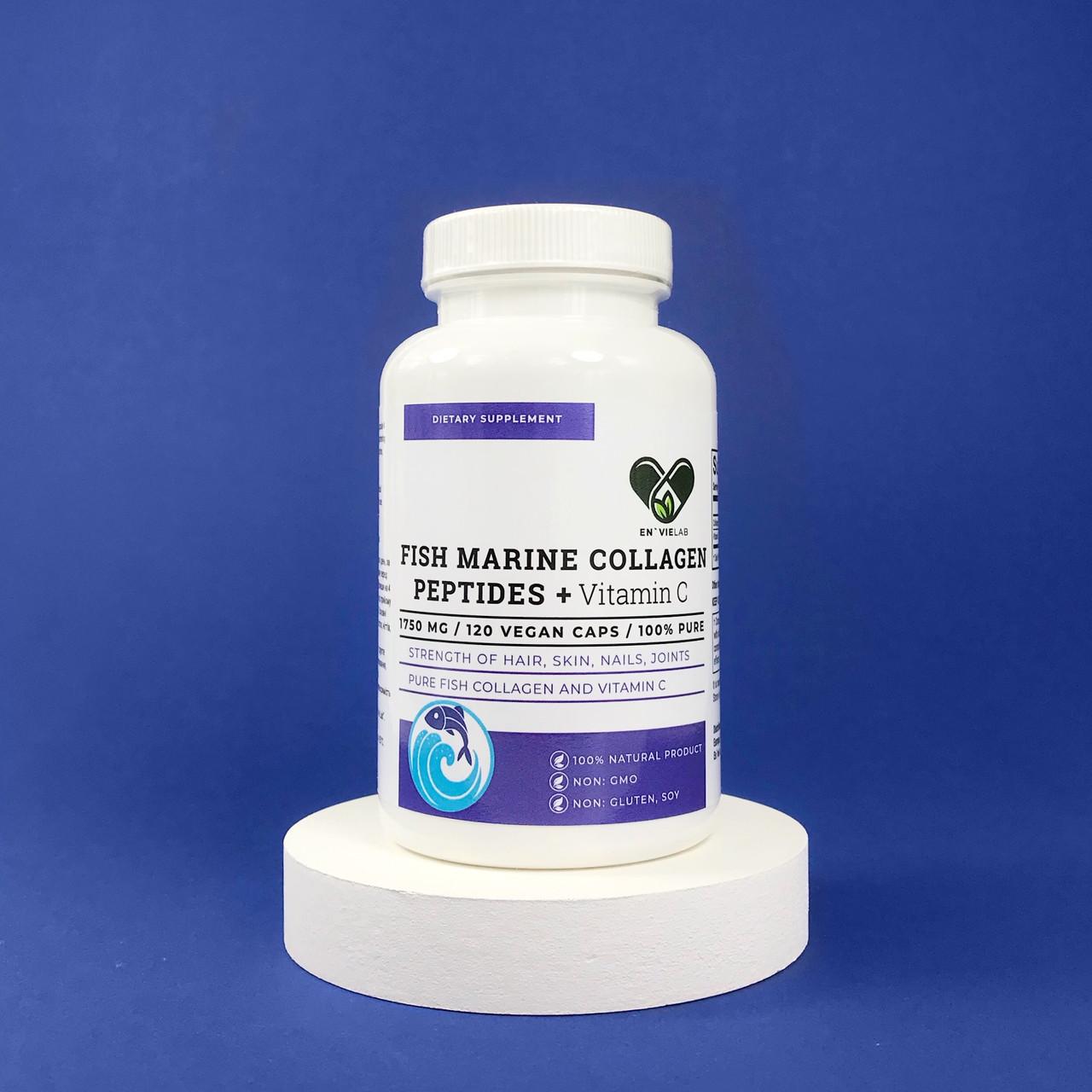 Морський риб'ячий колаген FISH MARINE +З 1750 mg. Envie Lab (120 капсул)