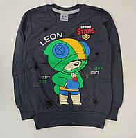 Детская кофта реглан для мальчика с манжетом Бравл Старс brawl stars тёмно серый Леон 6-7 лет