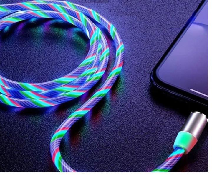 Магнитный светящийся кабель для зарядки и синхронизации TOPK AM16 18W micro USB LED 1 метр 2.4 A Разноцветный
