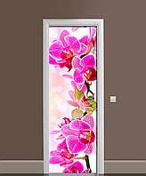 Виниловая наклейка на двери Розовая Орхидея (ламинированная пленка ПВХ) крупные цветы 650*2000 мм